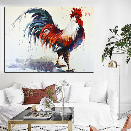 Big Abstract Rooster Water Color Oil Painting