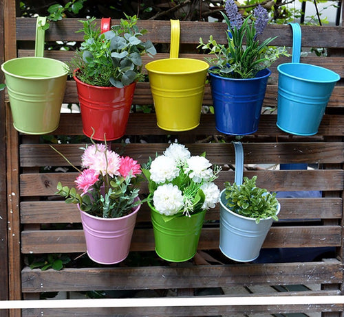 8 Piece Colorful Hanging Flower Pots