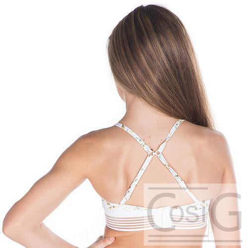 Ladies Fierce White Daisy Crop-LADIES DANCE CROPS-CosiG Studiowear