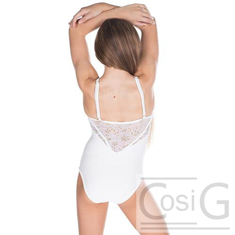 Mesh detail white leotard back