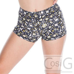 Hotpant cheeky cut black daisy print