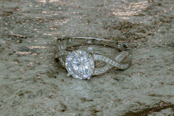 Dervish Twirl Diamond April Birthstone Ring