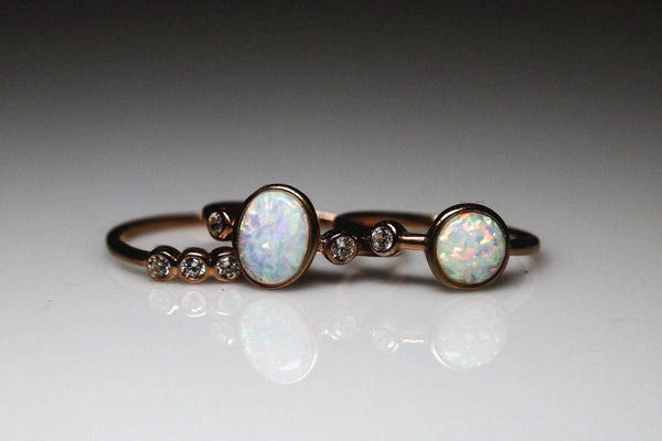 Theban Triad Opal October Birthstone Ring Set