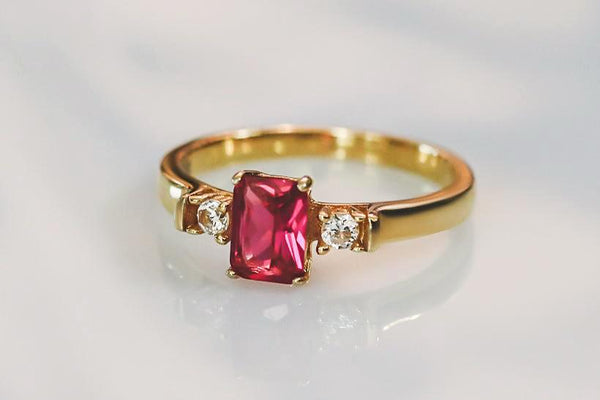 Stars at Dawn Ruby July Birthstone Ring