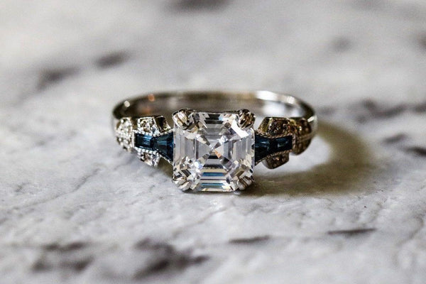 Royal Asscher Diamond And Sapphire April/September Birthstone Ring