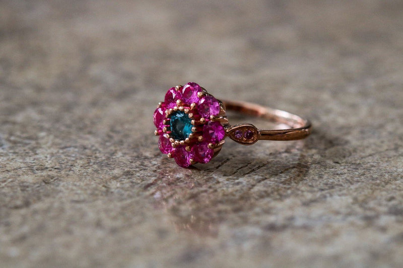 Tao of the Lotus Ruby And Topaz July/November Birthstone Ring