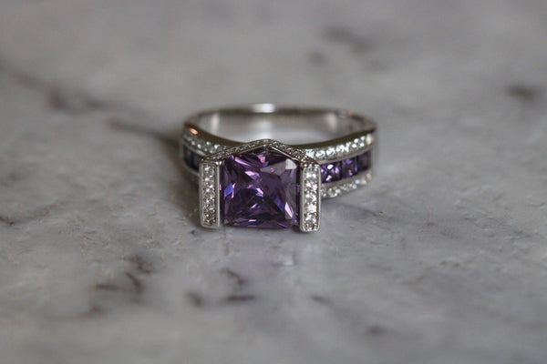 Violet Flourish Amethyst February Birthstone Ring