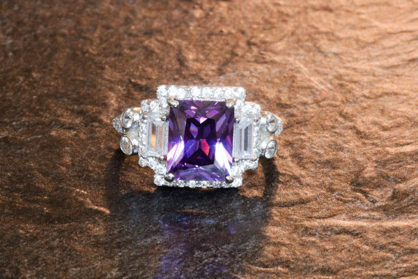 Padmanabhaswamy's Centerpiece Amethyst February Birthstone Ring