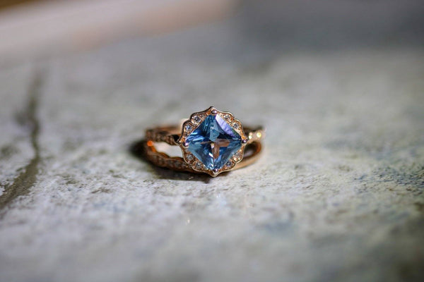 Elegant Heirloom Blue Diamond April Birthstone Ring Set