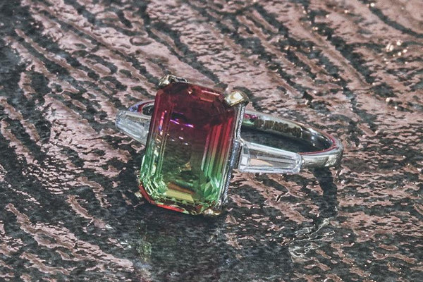 Watermelon Emerald-Cut Tourmaline October Birthstone Ring