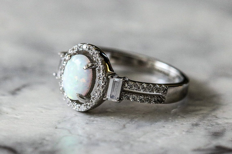 White Albion Opal And Diamond April/October Birthstone Ring