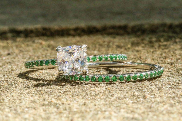 Lady Olivia Diamond And Emerald April/May Ring Set