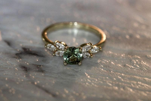 Rustic Babylon Green Sapphire September Birthstone Ring