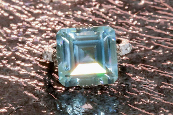 Pale Blue Classique Aquamarine March Birthstone Ring