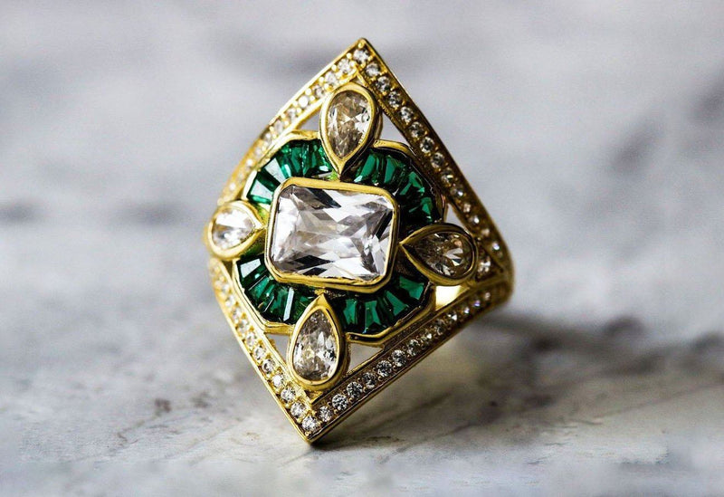 Aegis Exotica Emerald And Diamond April/May Birthstone Ring