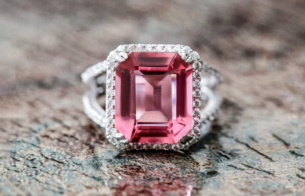 Blushing Brilliance Tourmaline October Birthstone Ring