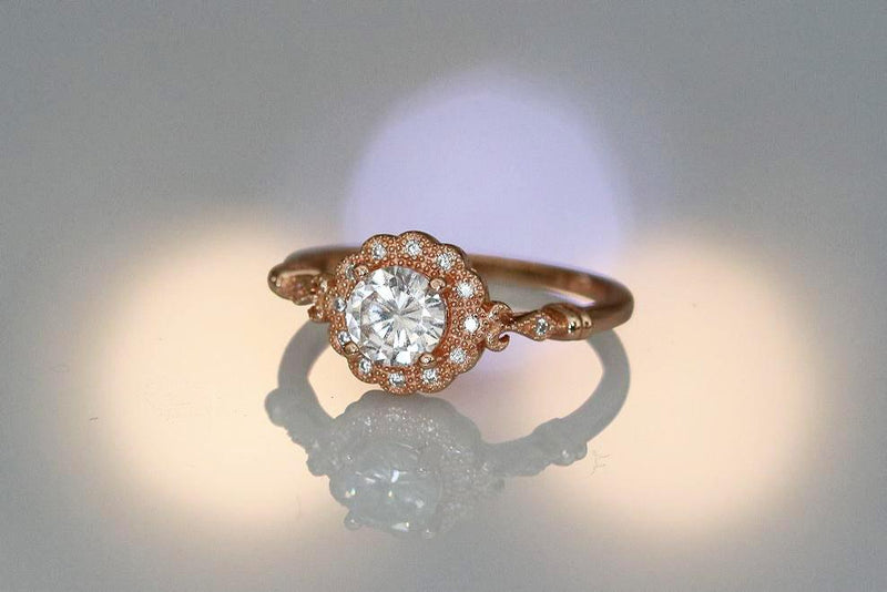 African Daisy Diamond April Birthstone Ring