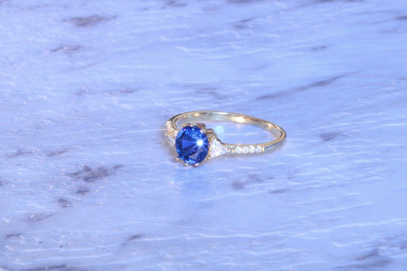 Blue Ice Sapphire September Birthstone Ring