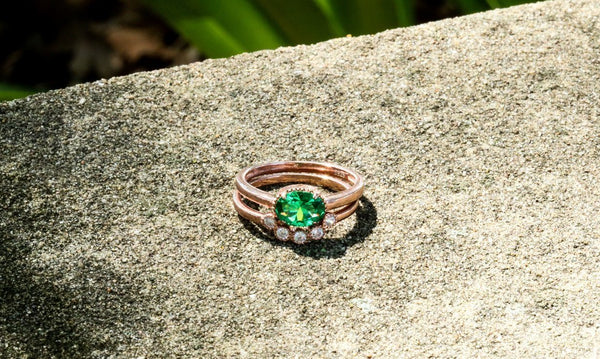 Gaia's Daughter Emerald May Birthstone Ring Set