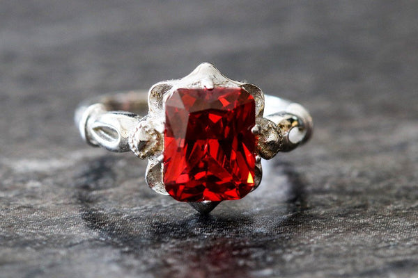 Ancestral Crest Garnet January Birthstone Ring