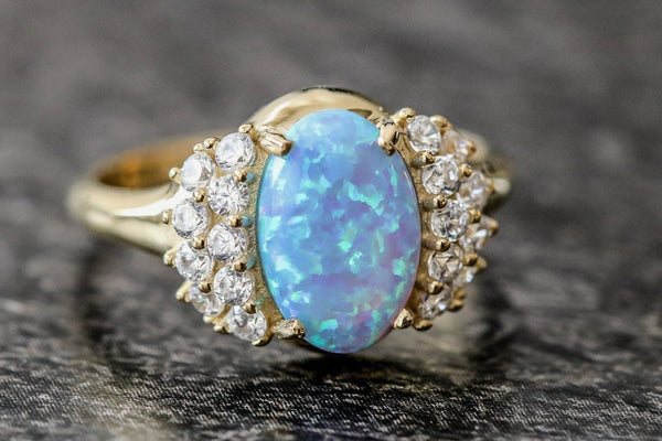 Golden Dreamtime Opal And Diamond April/October Birthstone Ring