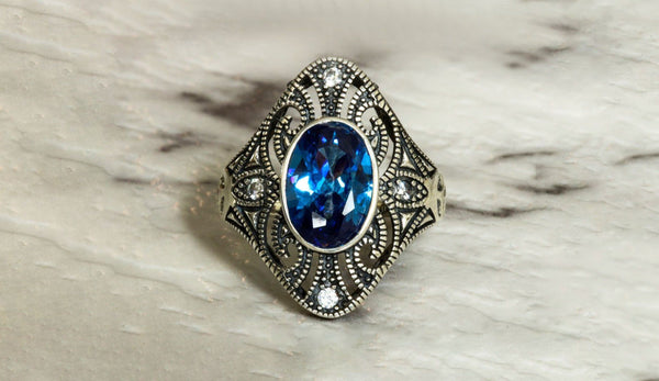 Pride of Babylon Sapphire September Birthstone Ring