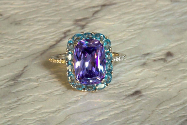 Lavender Azure Amethyst And Aquamarine February/March Birthstone Ring
