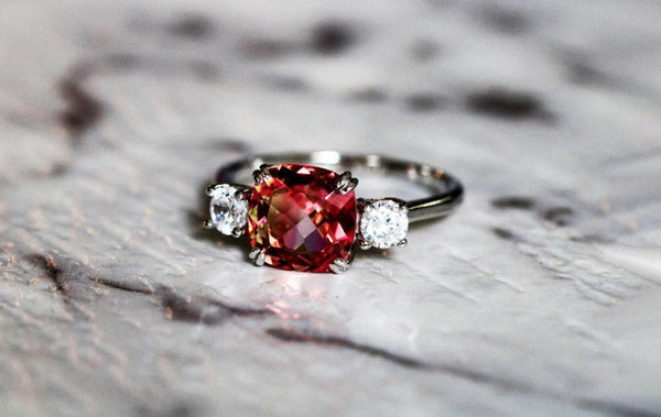 Rose Chalice Padparadscha Sapphire September Birthstone Ring