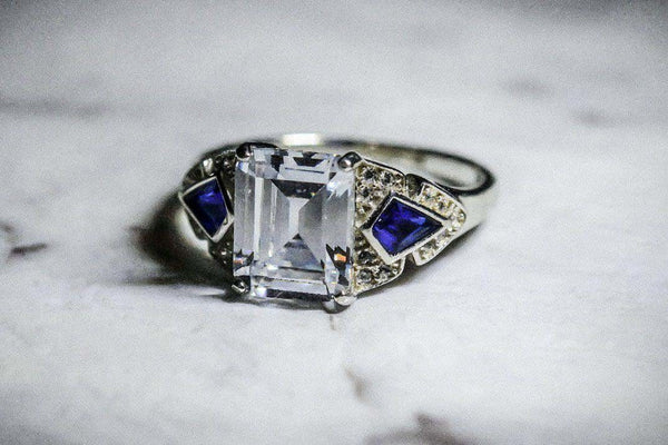 Winter Crystal Diamond And Sapphire September Birthstone Ring