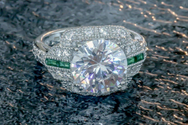 Pomp and Pageantry Emerald And Diamond May Birthstone Ring