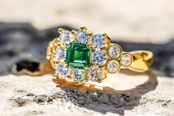 Divine Nectar Emerald And Diamond May Birthstone Ring