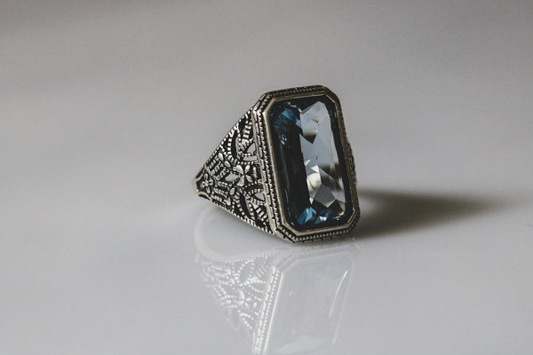 Byzantine Antique Blue Diamond April Birthstone Ring