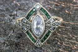 Bolkonski Diamond And Emerald April/May Birthstone Ring