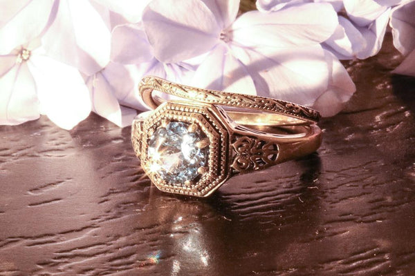 Superior Vintage Aquamarine March Birthstone Ring