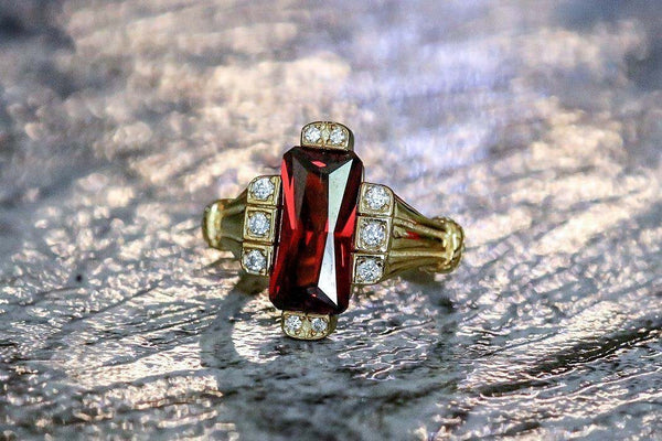 Wine Red Splendor Garnet January Birthstone Ring