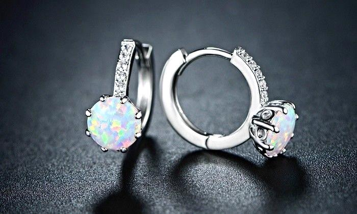 Elite White Fire Opal Hoop Earrings