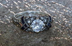 Gothic Angel Diamond And Sapphire September Birthstone Ring