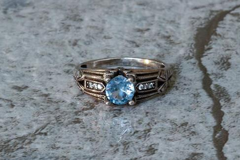 The Edwardian Aquamarine March Birthstone Ring