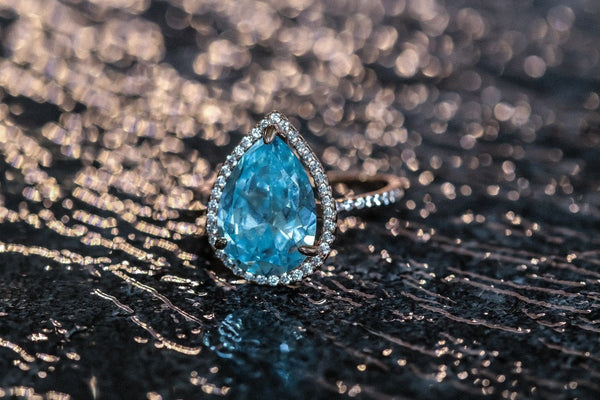Pale Blue Teardrop Aquamarine March Birthstone Ring