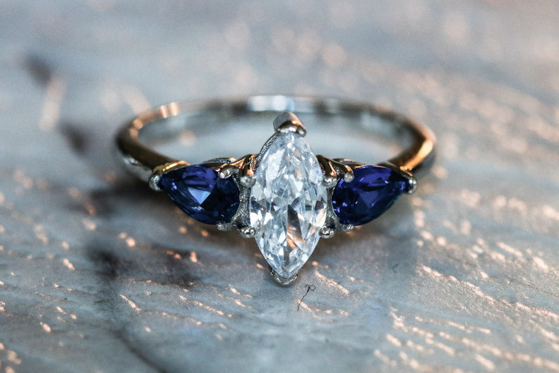 Winter Frost Diamond And Sapphire September Birthstone Ring