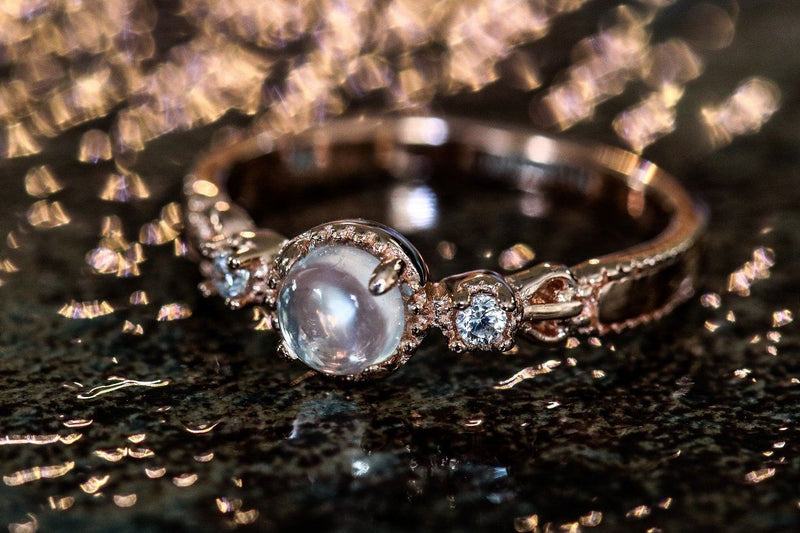 Rose Gold Relic Moonstone June Birthstone Ring