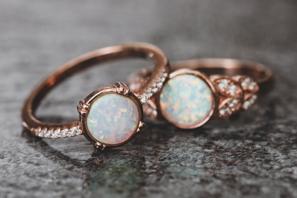 Twin Moons Opal October Birthstone Ring Set