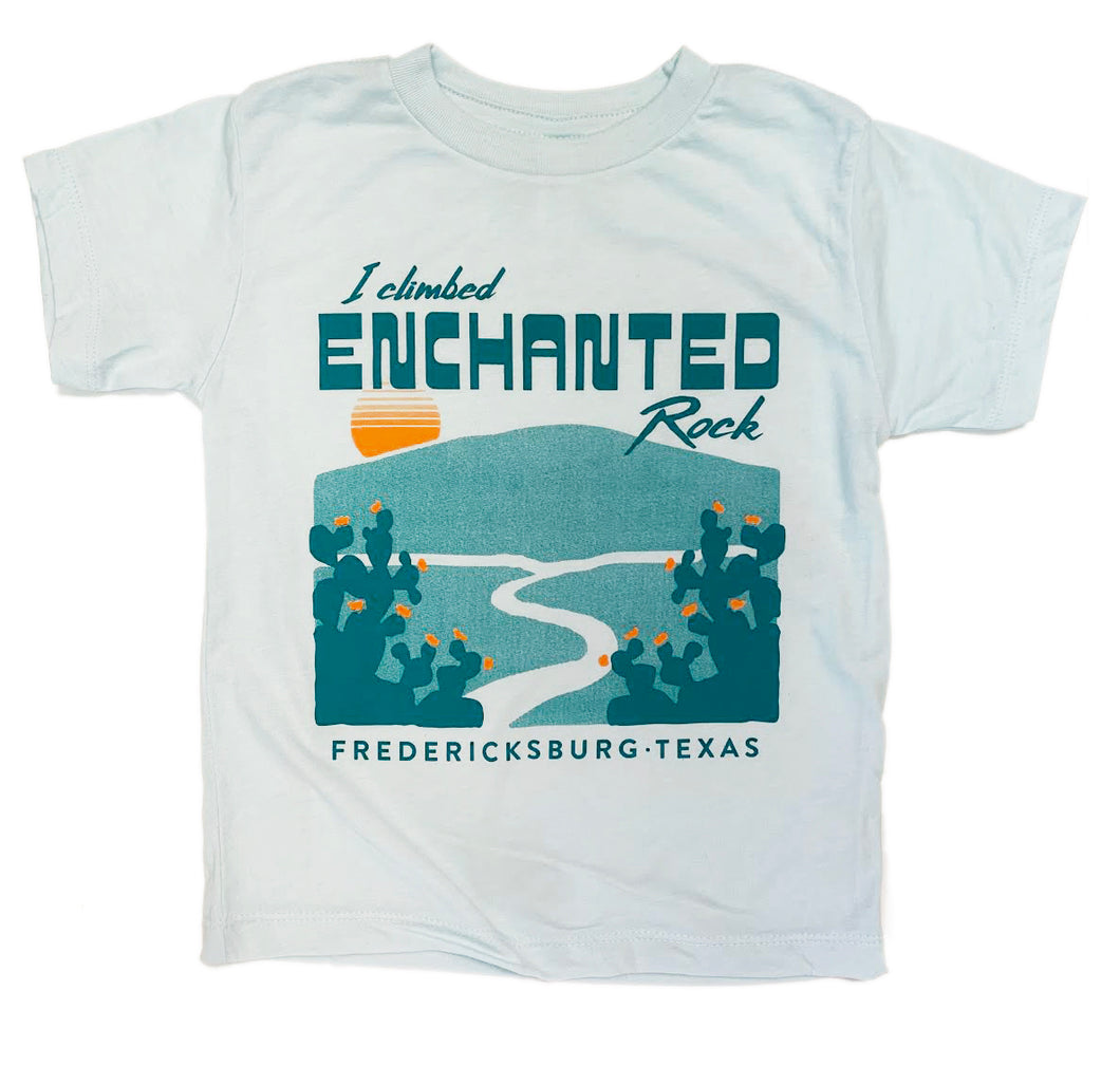 Children's Explore Texas T-shirt. Travel, explore, hike and camp, climb Enchanted Rock in FREDERICKSBURG, Texas in this comfortable, lightweight, modern shirt for kids.