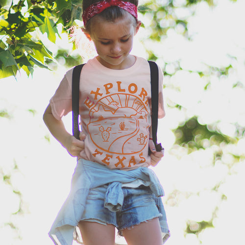 EXPLORE TEXAS KIDS T-SHIRT / Peach