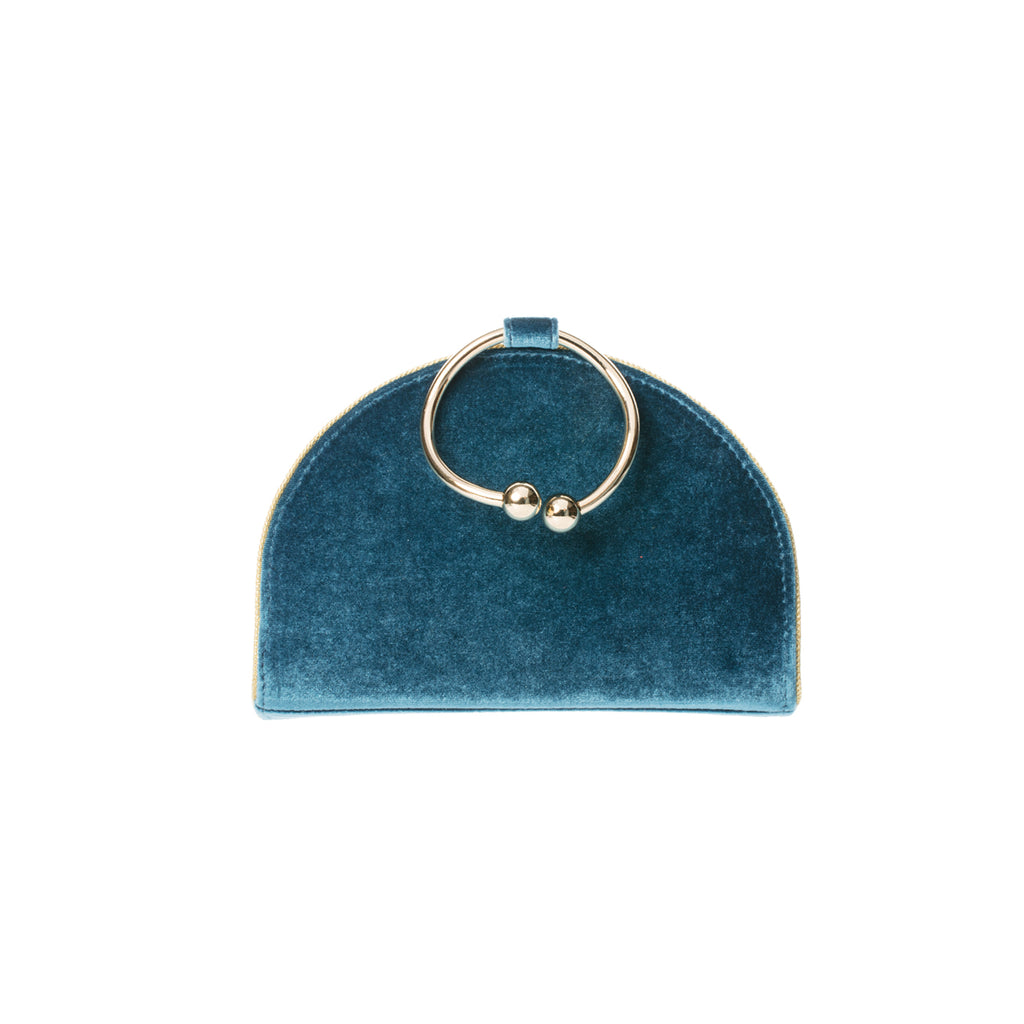 Chelsea Blueberry Twist Velvet Clutch Bag