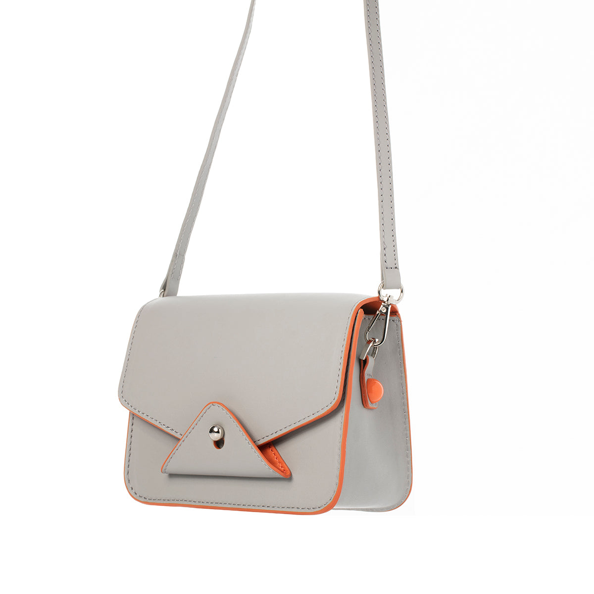 FIDI Grey-orange Leather Crossbody