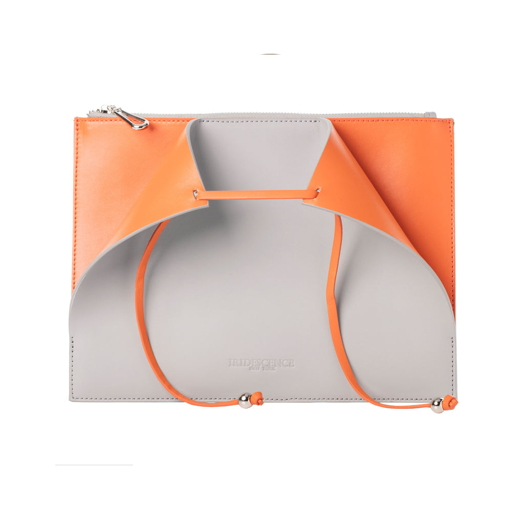 Highline Grey-orange Leather Lambskin Clutch Bag