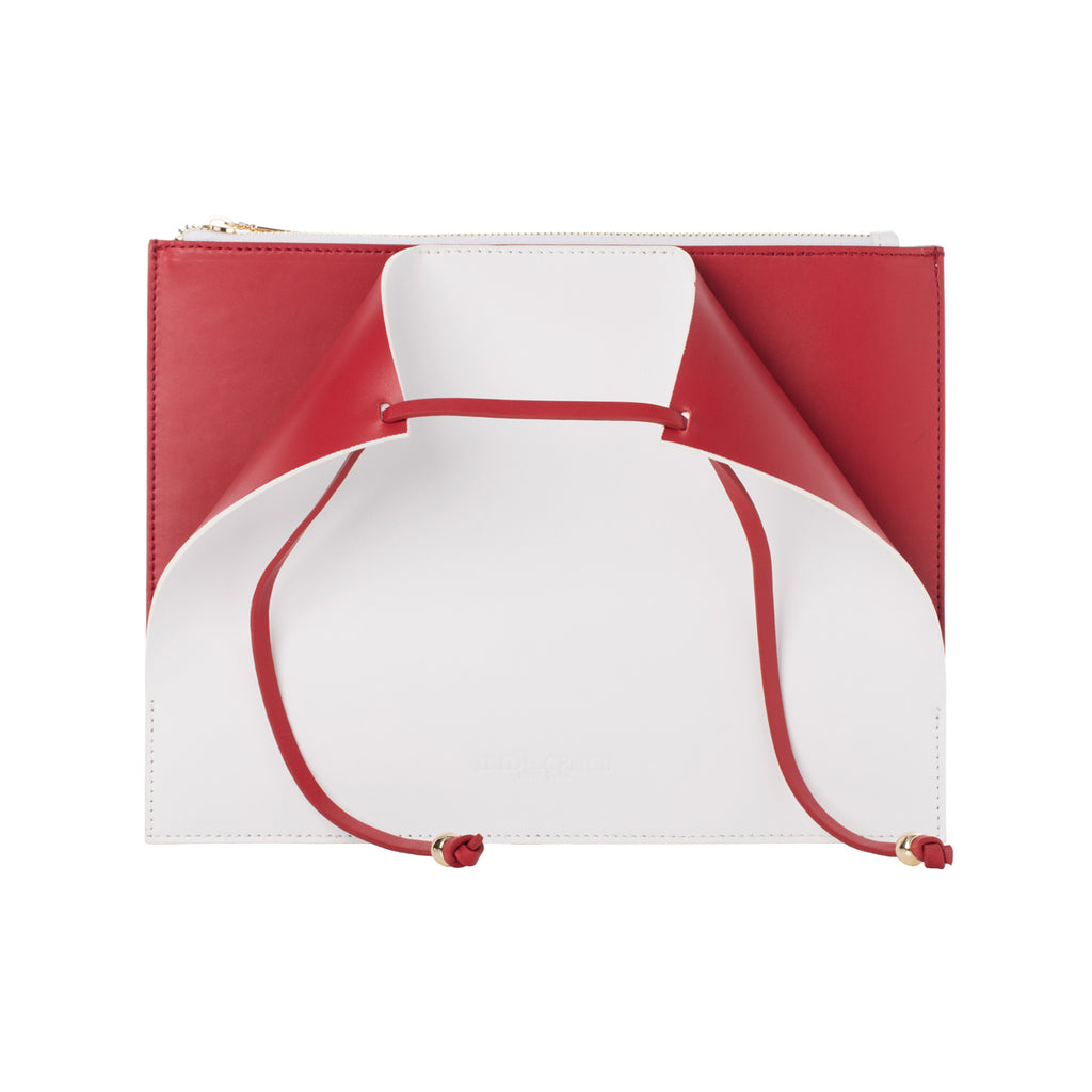 Highline White-red Lambskin Clutch Bag