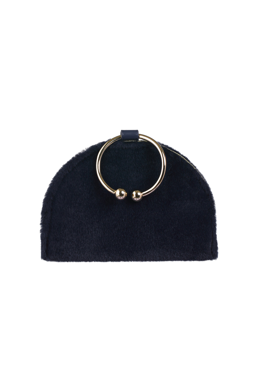 Chelsea Navy Leather & Faux fur Clutch Bag