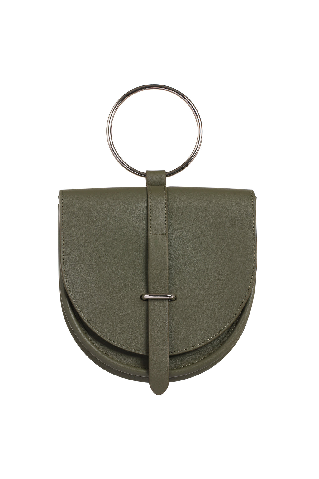 O-Ring Olive Leather Handbag